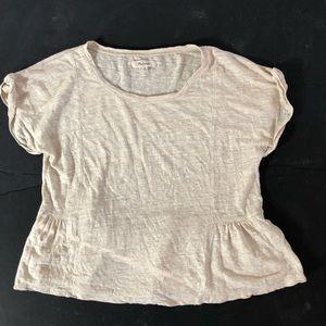 Madewell beige off white ruffle bottoms shirt M